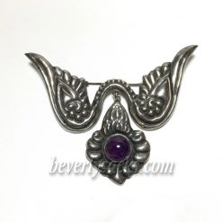 Mexican Wing Amethyst Sterling Brooch