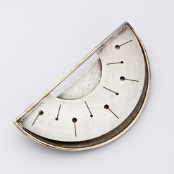 14K Sterling Crescent Brooch