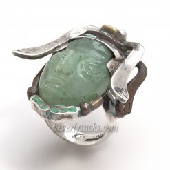 Aztec Mask Headdress Sterling Jade Ring