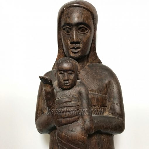 Mother and Child Hand Carved Wood Sculpture1