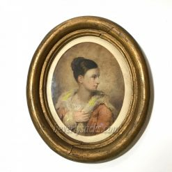 19th Century Portrait of Lady Watercolor Painting