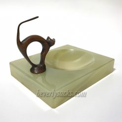 Bronze Cat Sculpture on Marble Ashtray