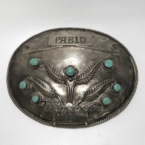 PABLO Navajo Sterling and Turquoise Belt Buckle