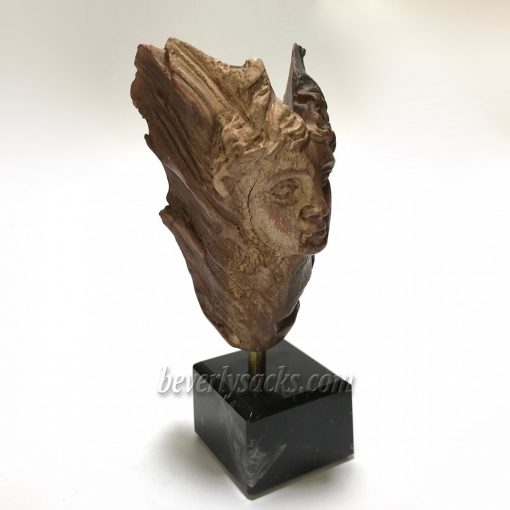 Wood Sculpture of a Carved Face by TAS 1