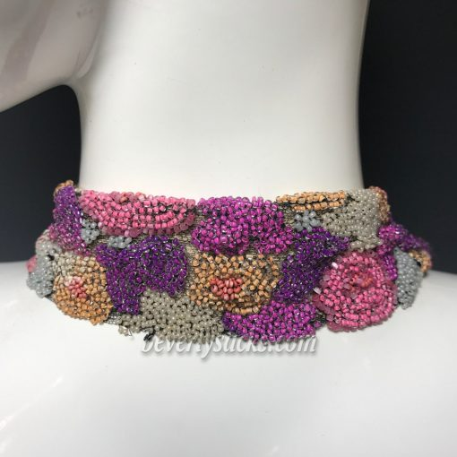Floral Mesh Beaded Sautoir Necklace