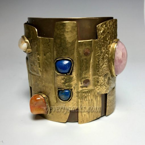 Juan Reyes Brass Copper Natural Gemstone Cuff Bracelet
