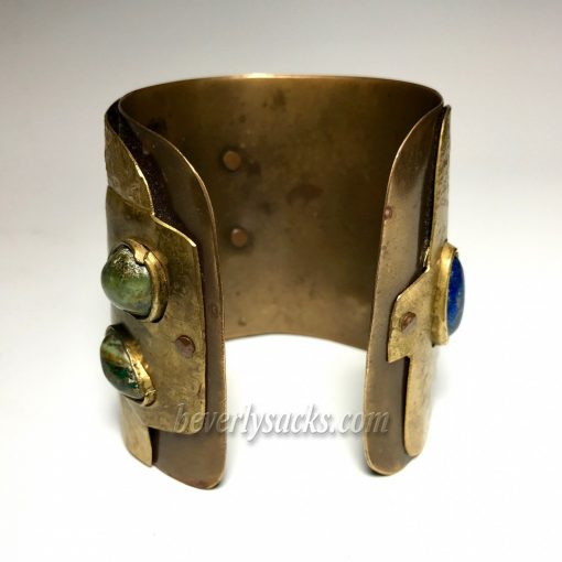 Juan Reyes Brass Copper Natural Gemstone Cuff Bracelet 6