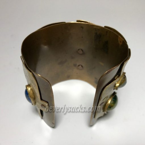 Juan Reyes Brass Copper Natural Gemstone Cuff Bracelet 9